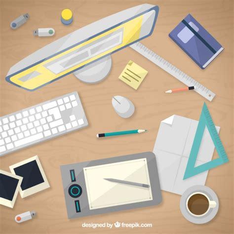graphic design desk graphic designer desk in top view vector premium