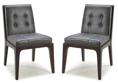 furniture harrison dining chair gunmetal grey leather harrison gunmetal grey dining chair set of 2 from sunpan