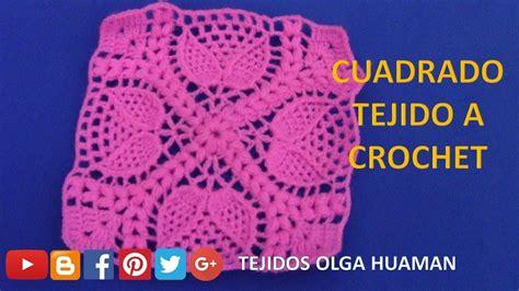 cuadrado de ganchillo cuadrado tejido a crochet para cobijas o mantitas para