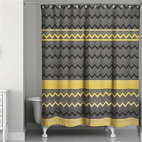 yellow and brown shower curtain chevron stripes shower curtain in black gold bed bath