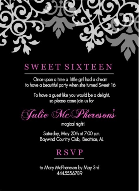 16th birthday invitations templates birthday invitation wording ideas from purpletrail