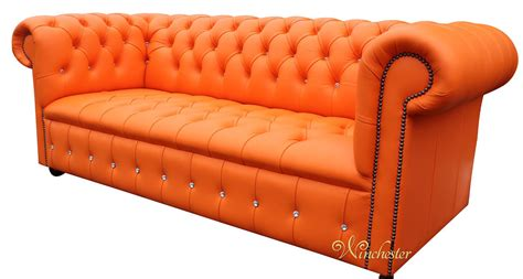 Dkny Sofa Light Blue Box Exclusive chesterfield swarovski crystallized 3 seater mandarin orange leather sofa offer