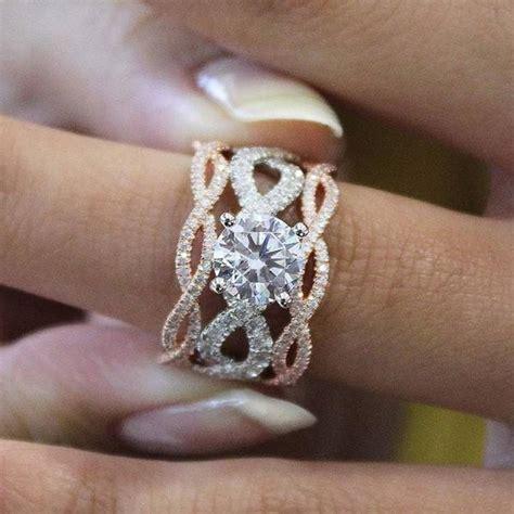 Gabriel 14K 2 Tone Rose & White Gold Twist Diamond