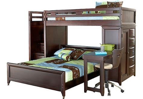 rooms to go bunk beds with desk ivy league cherry twin full step loft w chest with desk