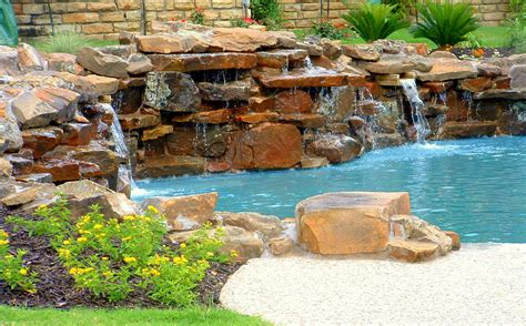 rock waterfalls for pools large waterfall design moss rock waterfall feature