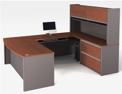 u shape desk bestar connexion u shaped desk and hutch