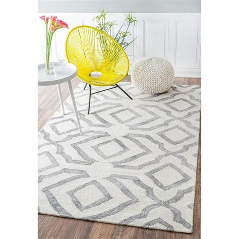 gray and white rugs nuloom contemporary handmade abstract wool rug 7 6 x 9 6