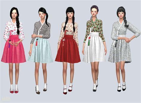 Pink Casual Hanbok casual hanbok 생활 한복 여자 의상 sims4 marigold