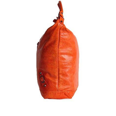 Balenciaga The Courier Bag by Balenciaga Lambskin Leather Courier Bag Orange Luxity