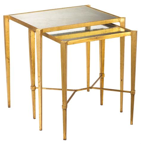 Gold Nesting Tables by Gershon Regency Gold Leaf Antique Mirror Nesting