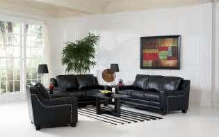 black leather living room finely leather living room set in black sofas