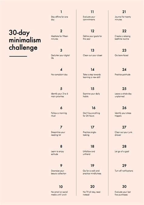 30 Day Mental Detox by 30 Day Minimalism Challenge Into Mind
