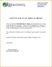 Certification Letter Of Resignation 6 Certificate Of Employment Resignation Printable