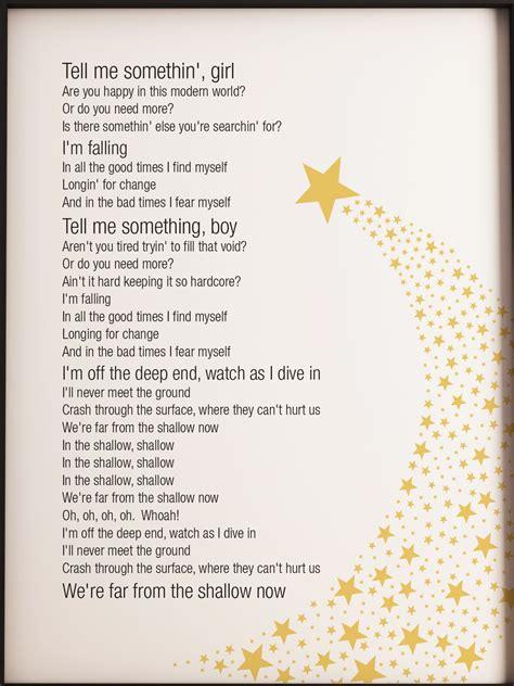 shallow  star  born lady gaga song lyrics poster print