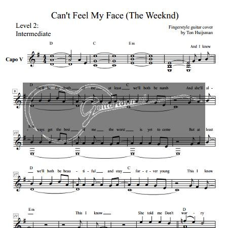 can t feel my face the weeknd can t feel my face the weeknd level 2 guitartown