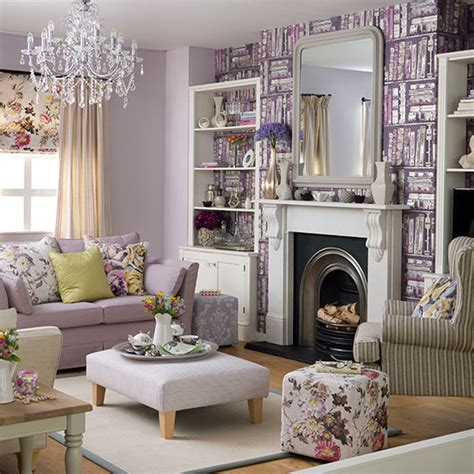 purple living room with library print wallpaper living
