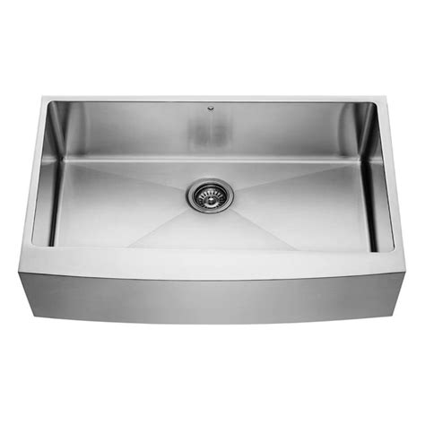 Vigo Kitchen Sinks Shop Vigo 36 0 In X 22 25 In Premium Satin Single Basin Stainless Steel Apron Front Farmhouse