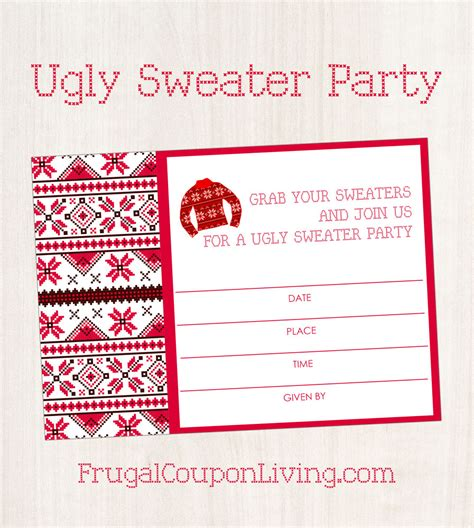 printable ugly christmas sweater free ugly sweater party invite printable