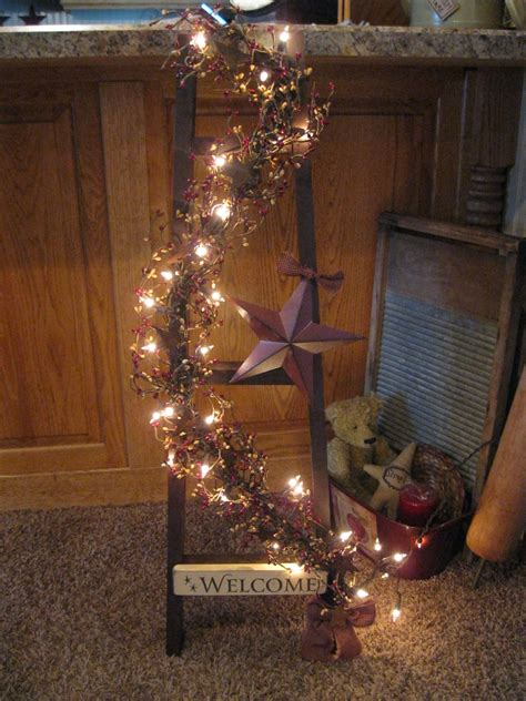 primitive country star lighted ladder decoration home decor crafts christmas ideals decorations on pinterest