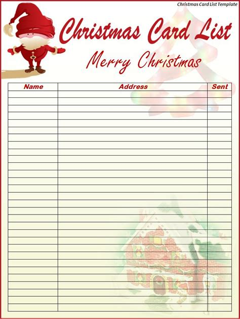 christmas card list template best word templates