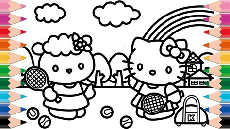 hello kitty tennis coloring pages how to draw hello kitty and baa baa black sheep friends