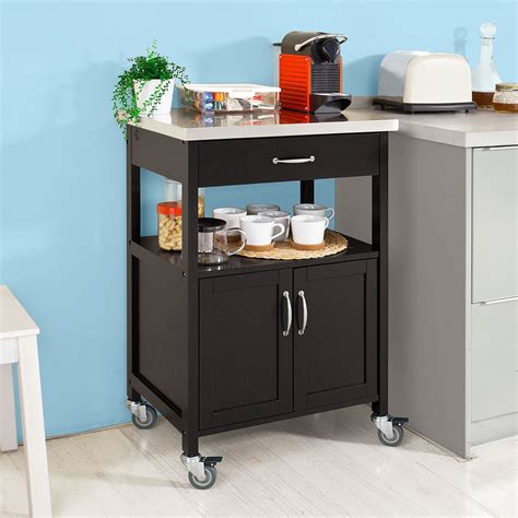 sobuy 174 kitchen trolley kitchen cabinet with stainless