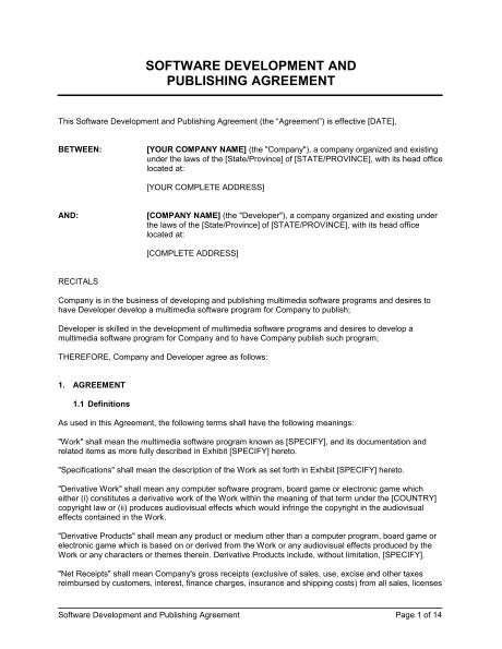 software contract agreement template software development and publishing agreement template