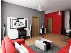 Design interior living room red white black and gray
