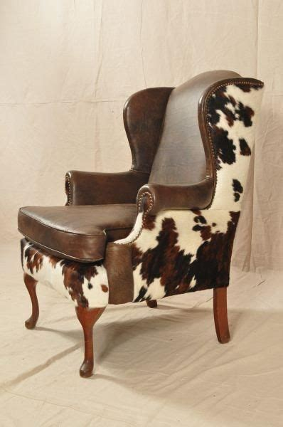 cowhide upholstered chairs cow hide covered wing chair pesquisa western