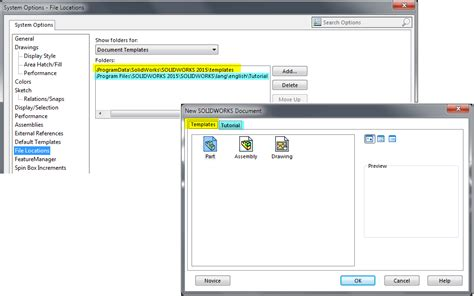 solidworks templates solidworks default template location settings