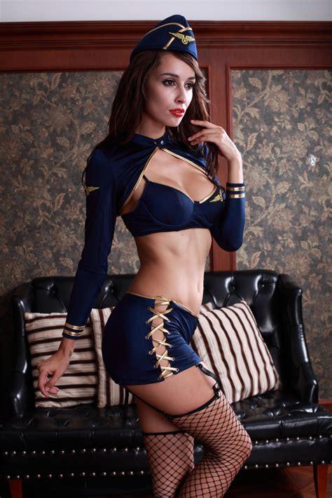 fetscom cosplay in pantyhose uniforms nylon new cosplay sexy lingerie hot stewardess uniform