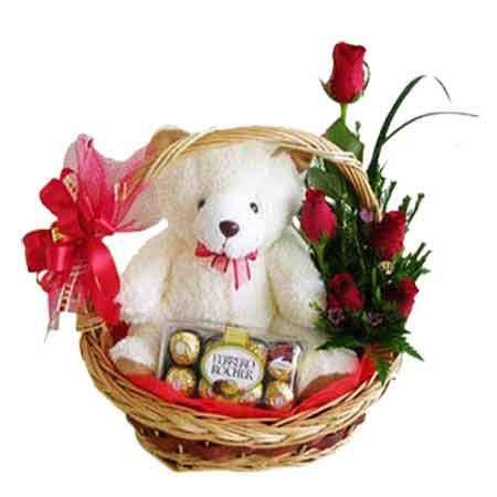 send red roses ferrero rocher  teddy  basket