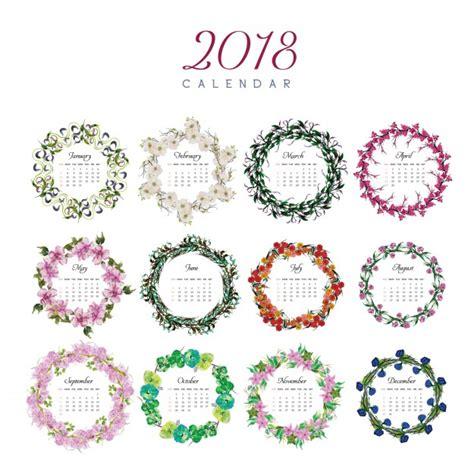 Calendar 2018 Design Vector 2018 Calendar Floral Design Vector Free