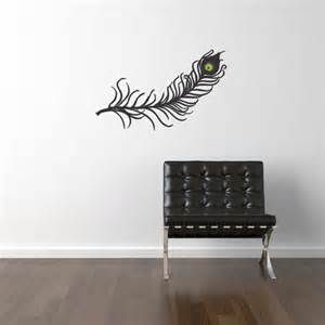 Peacock Feather Wall Sticker Items Similar To Peacock Feather Vinyl Wall Decal 3 Color