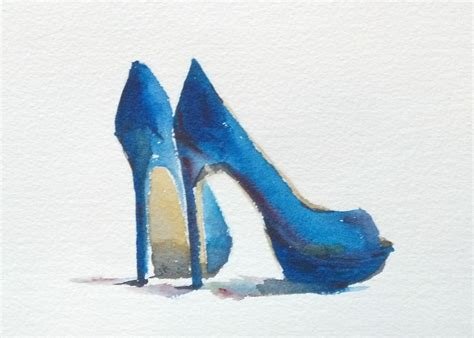 high heel shoe paintings still blue high heels fashion by littlebitsofcolor
