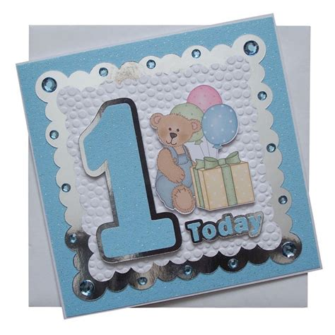 Handmade 1st Birthday Cards - handmade 1st birthday card blue 163 1 80 folksy favs