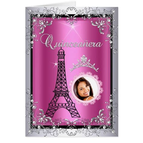 printable quinceanera greeting cards photo quinceanera pink silver tiara eiffel tower greeting