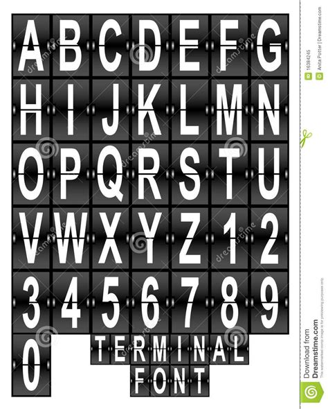 typography terminal airport terminal display font set stock vector image