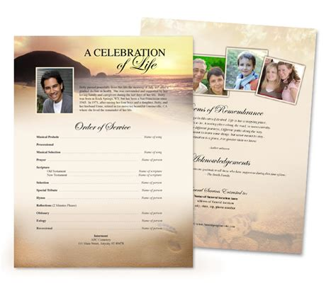 memorial handout template free memorial service program template quotes