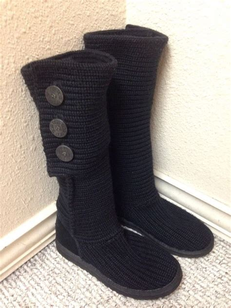 knit sweater boots ugg australia classic cardy black knit sweater boot