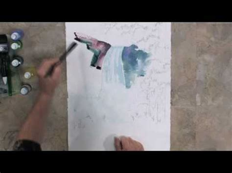 watercolor waterfall tutorial how to paint waterfalls with tom jones youtube