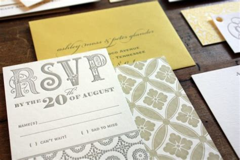 s yellow and gray patterned letterpress wedding invitations