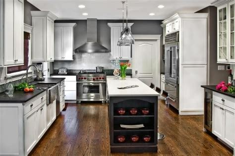 white glazed cabinets with black appliances kitchen what s not to like grey glazed tile white cabinets