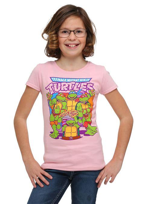 girls tmnt group pizza pink  shirt