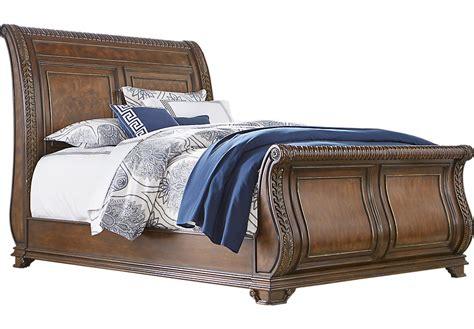 handly manor pecan  pc queen sleigh bed queen beds dark