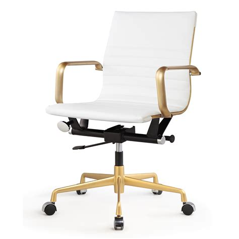 george white vegan leather gold office chair low