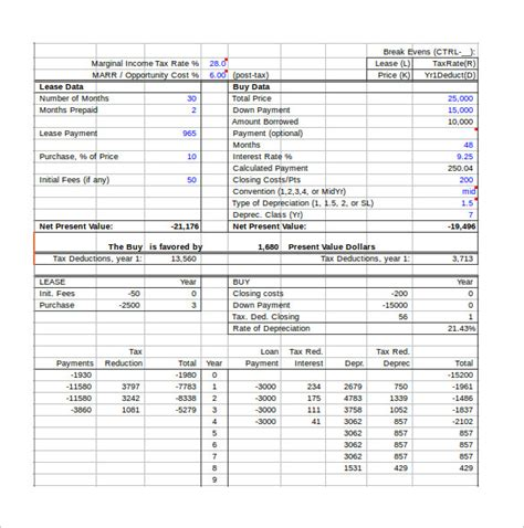 Lease Calculator Excel Spreadsheet by Sle Lease Payment Calculator 9 Free Documents In Excel