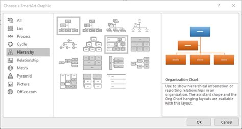 smartart hierarchy layout powerpoint create an organization chart office support