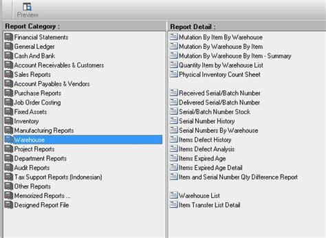 laporan accurate lengkap accounting software indonesia