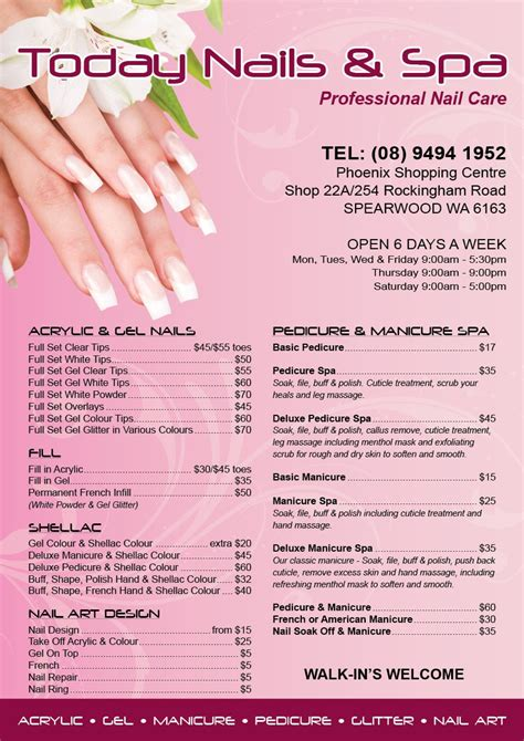 nail price list template today nail a5 pricelist s t graphic design and colour print